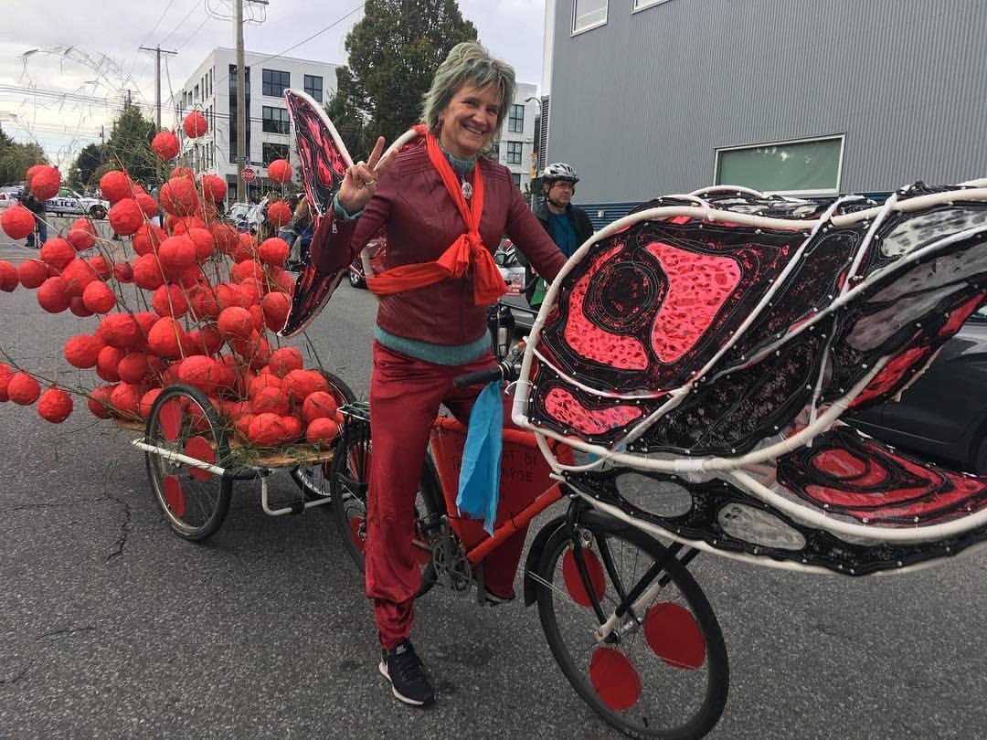 Donna Clark on her bike float.