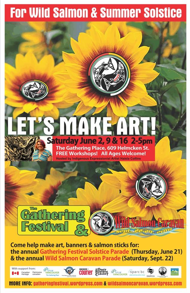 Poster for Gatherings Festival + Haisla Collins + Wild Salmon Caravan workshops Saturday, June 2, 9 & 16. 2-5pm.