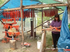 Sheila Hurst - Sheila, Chilcotin from Toosey Reserve, breaking the spine from the salmon before cutting in the Liliooet style. After the salmon is cut, it is hung in the smokehouse to dry, see background.